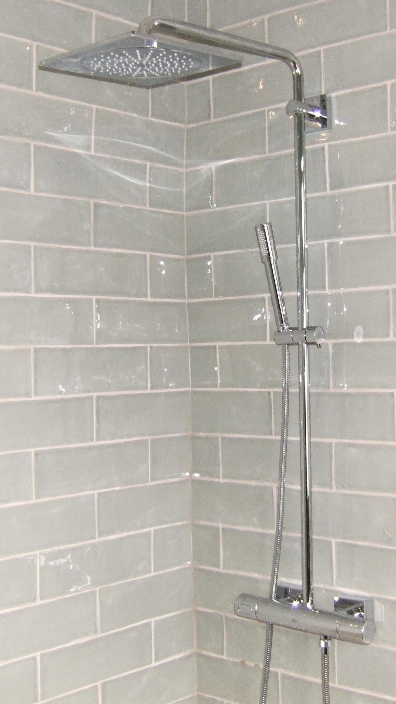 Fired Earth tiles with Grohe exposed shower valve | Richmond Bathrooms
