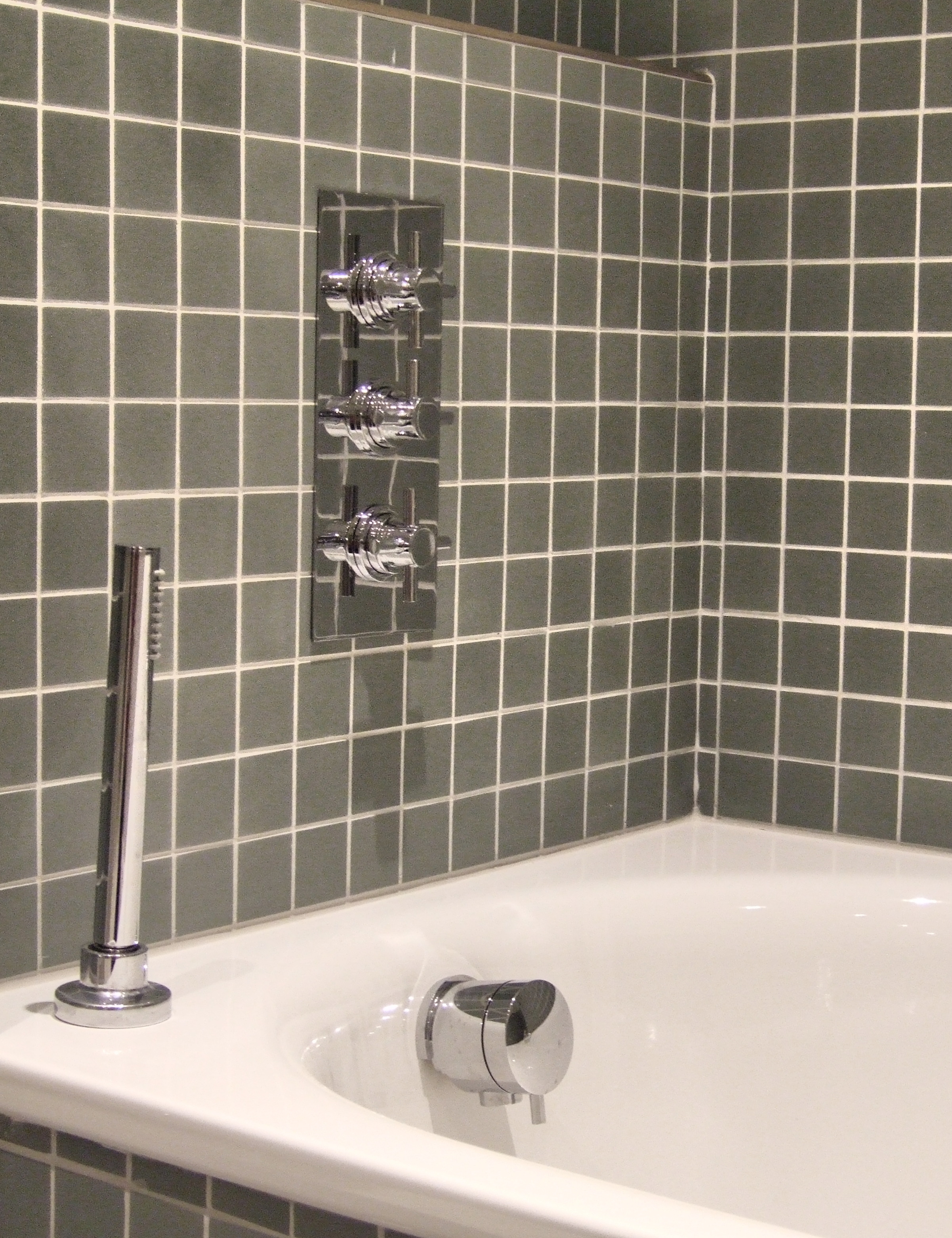 Pura thermostatic shower valve, bath filler and pull out shower ...