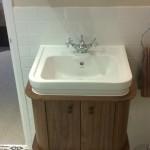 Burlington basin mixer tap with a traditional basin and an oak basin unit