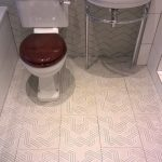 Richmond bathroom with patterened floor tiles.