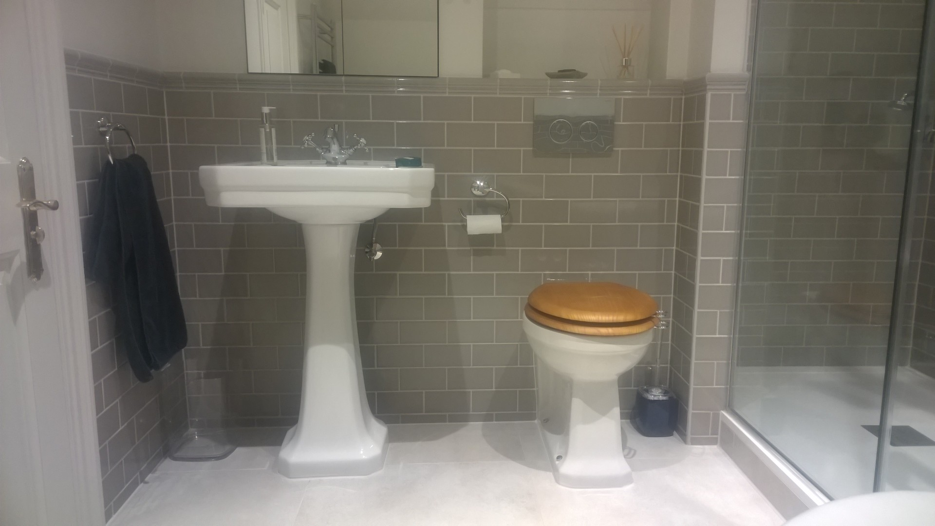 A Burlington pedestal basin and back to wall WC