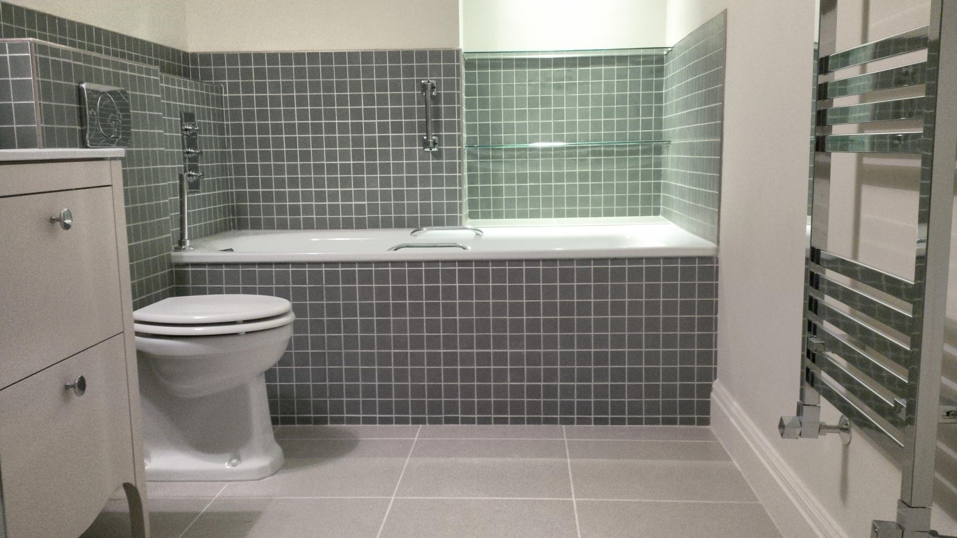Bath Panel Tiled In Green Mosaic Richmond Bathrooms