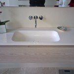 A wall hung basin unit with one drawer