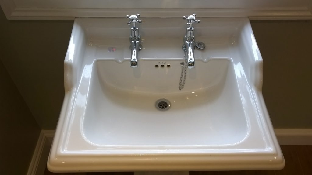 A traditional Burlington basin with individual taps