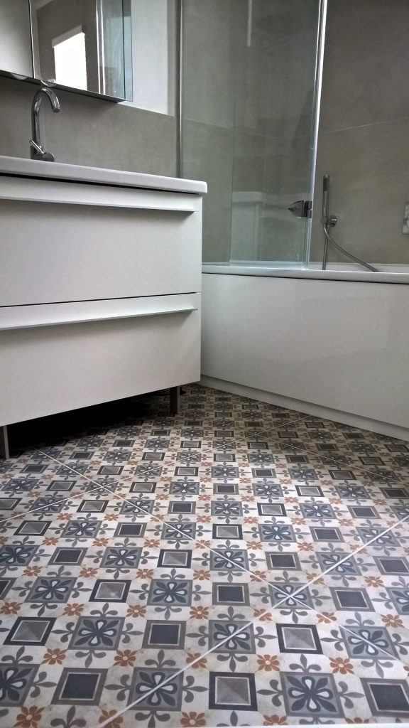 A pciture of patterened bathroom floor tiles