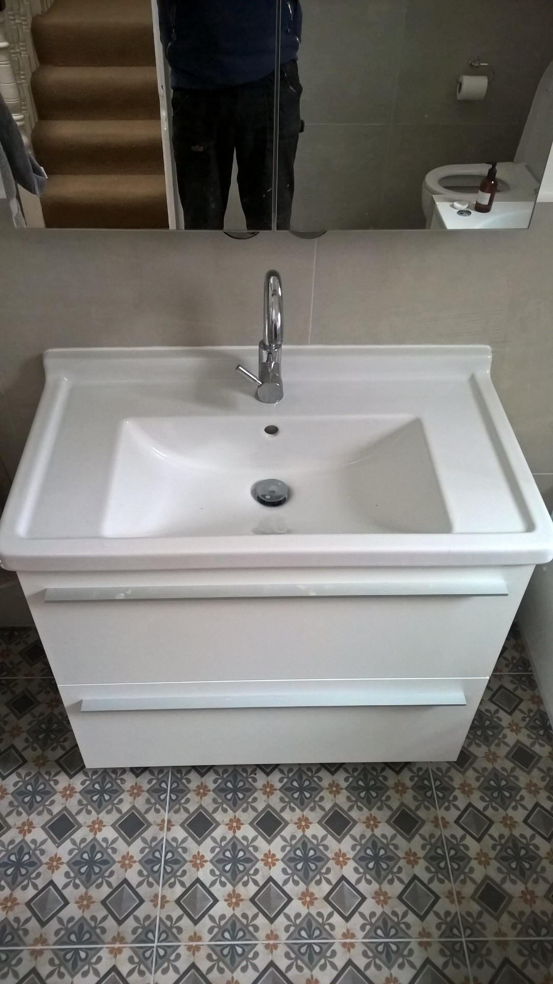 A picture of a wall hung vanity unit with two drawers