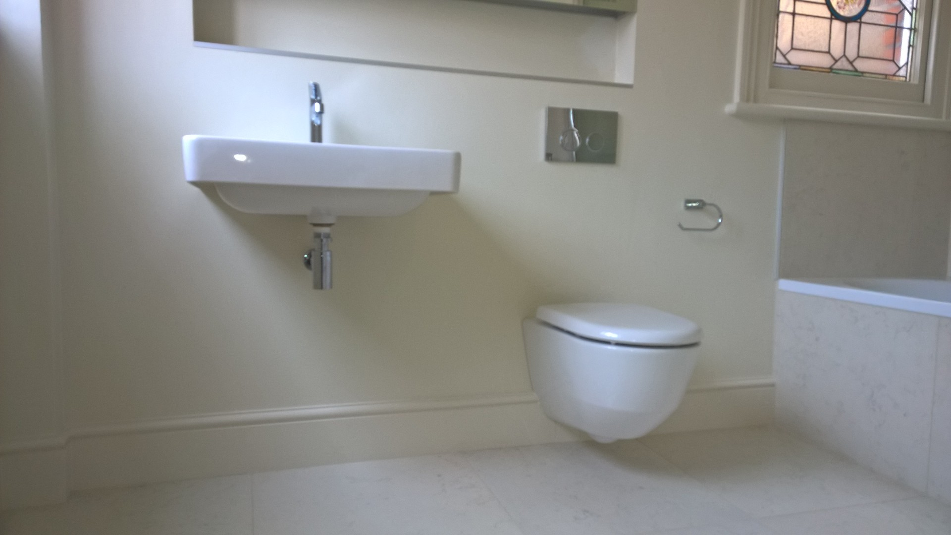 Wall mounted basin and WC