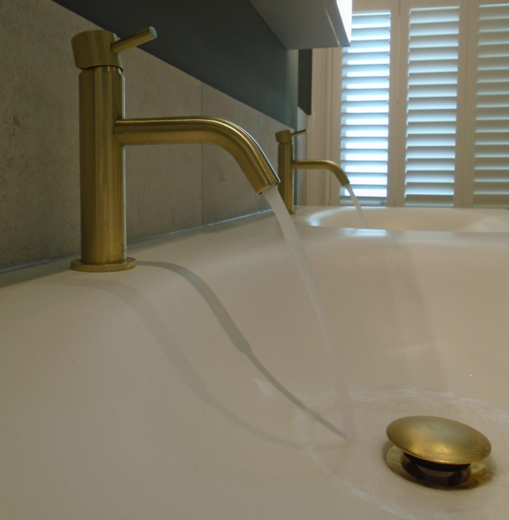 Brushed nickel tap on double basin unit